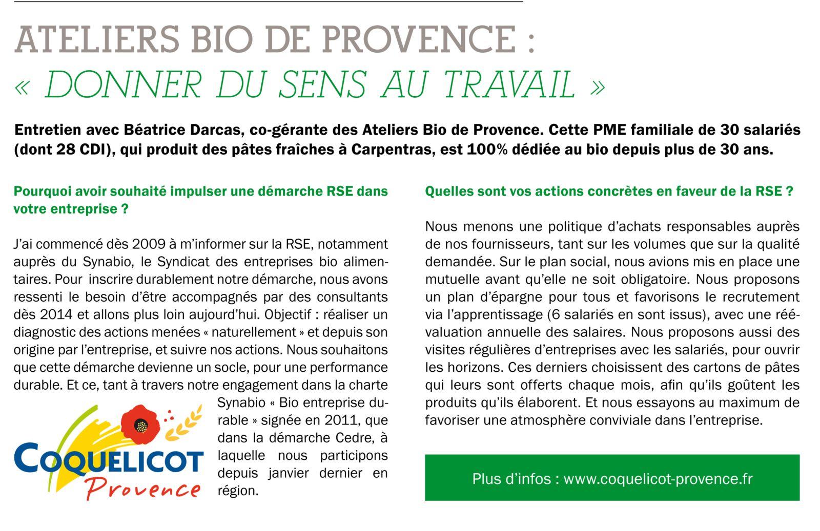 La démarche RSE d'Ateliers Bio de Provence